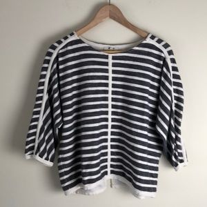 Madewell grey cream striped Zip back top